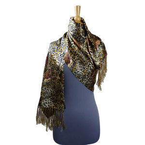 Roses and Leopard Fringed Scarf Silk Black & Gold